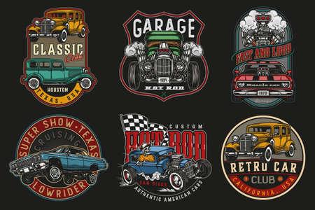 Custom cars vintage colorful labels