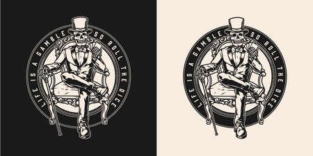 Gambling vintage monochrome round emblem Vector Illustration