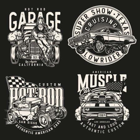 American custom cars colorful prints Vetores