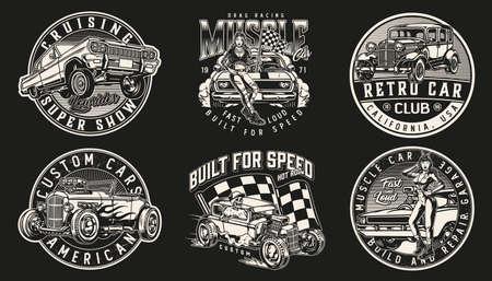 Custom cars vintage prints