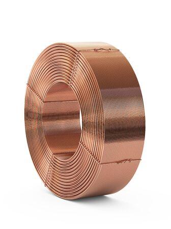 Metal de cobre. Bobina de tubos. Aislado sobre fondo blanco, ilustración 3D Foto de archivo
