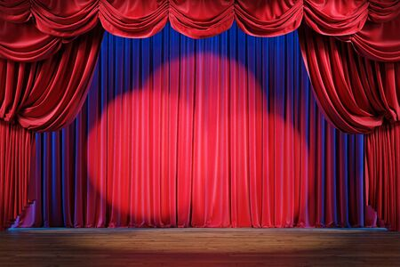 Leere Theaterbühne mit roten Samtvorhängen und Scheinwerfern. 3D-Darstellung