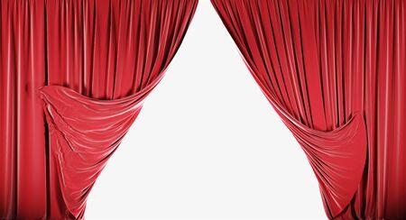 Rode fluwelen gordijnen geïsoleerd op een witte achtergrond. 3d illustratie
