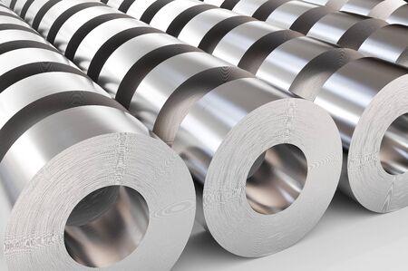 Magazzino di rotoli di acciaio. Lamiere di acciaio in rotoli, laminati metallici. illustrazione 3D.