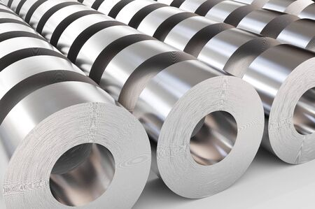 Warehouse of steel rolls. Steel sheets in rolls, rolled metal products. 3d illustration.