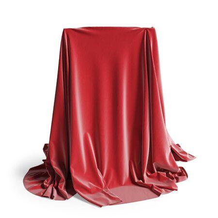 Podio vuoto coperto di panno di seta rossa. Isolato su uno sfondo bianco con tracciato di ritaglio. illustrazione 3D