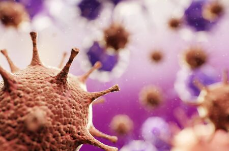 Virus infected organism. Medical concept, science background with viruses. 3d illustration Standard-Bild