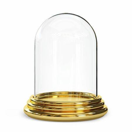 Empty glass dome on a white background. Clipping path included. 3d illustration Standard-Bild