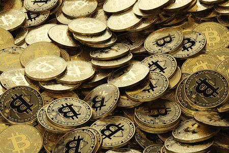 Heap of golden bitcoins. Golden coins with bitcoin symbol. Cryptocurrency and virtual money concept. 3D illustration