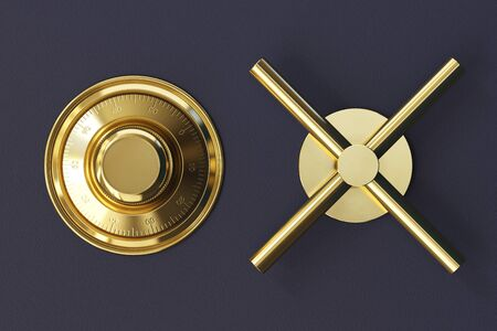 Safe lock code on safety box bank. Conceptual image with golden handle. 3d rendering Standard-Bild