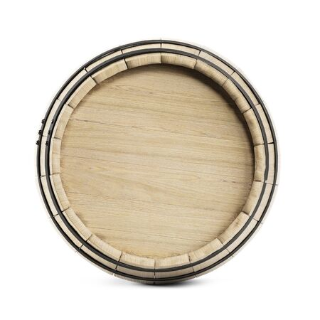 Wooden barrel isolated on white background. Clipping path included. 3d illustratio Imagens