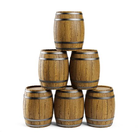 Wooden barrels stacked on a white background. Clipping path included, 3d illustration