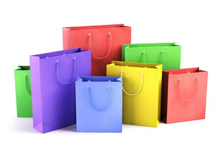 A lot of color paper shopping bags. Business, retail, sale and online commerce concept. 3D illustration