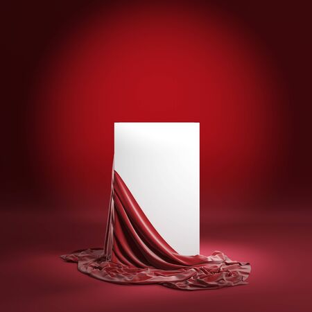 Presentation pedestal with red silk cloth. Isolated with clipping path. 3d illustration Standard-Bild