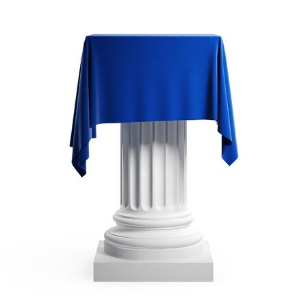 Empty podium covered with blue cloth. Isolated on a white background with clipping path. 3d illustration