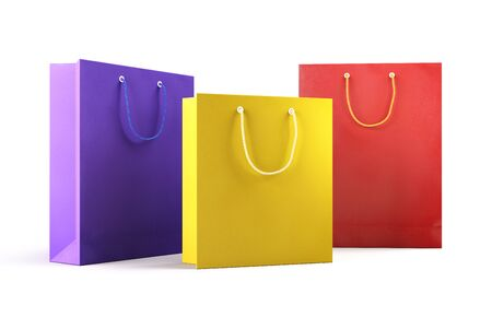 Set of colorful empty shopping bags on white background. Business, retail, sale and commerce concept. 3D illustration Standard-Bild