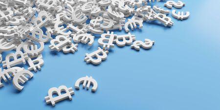 Infinite dollar, euro, bitcoin symbols background. 3d rendering