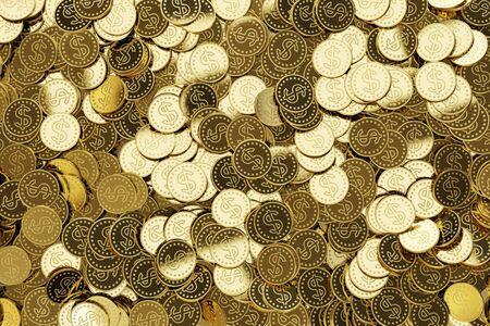Heap of golden dollars, top view. Golden coins with dollar symbol. 3D illustration Standard-Bild