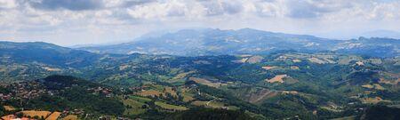 Beautiful aerial Panorama of San Marino and the Apennine Mountains.