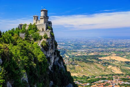 Fortress Guaita on Mount Titano is the most famous tower of San Marino, Italy.