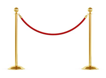 Golden barrier with red rope isolated on white background. Clipping path included. 3d illustration Standard-Bild