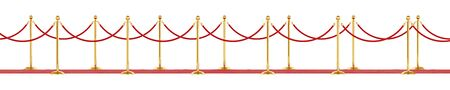 Barrier rope isolated on a white background. Luxury golden fence for events. Clipping path included, 3d illustration.