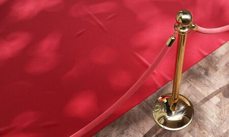 Red event carpet and golden barrier with red rope. Luxury, equipment for events, VIP concept. 3d illustration