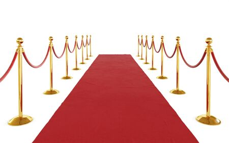 Red ceremonial carpet, golden barrier isolated on white background. Clipping path included. 3d illustration Standard-Bild