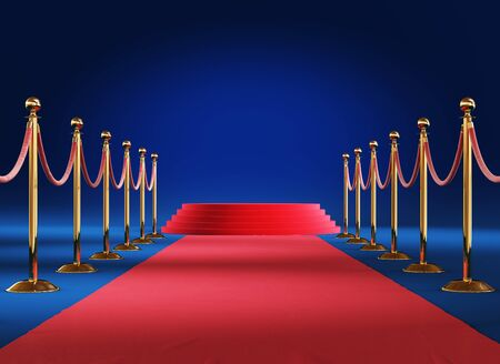 Golden barrier with podium isolated on blue background. Clipping path included. 3d illustration Foto de archivo