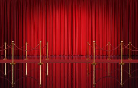 Interior of the theater with red velvet curtains and event carpet with golden barrier. 3d illustration Standard-Bild