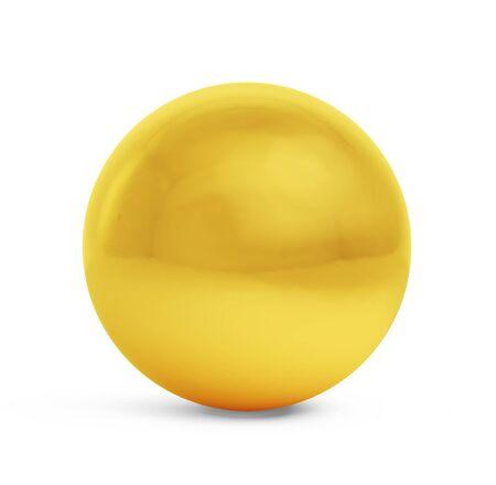 Golden sphere isolated on a white background, 3d illustration Standard-Bild