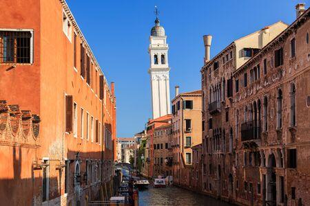 Church Chiesa di San Giorgio dei Greci - Leaning tower of Venice, Italy