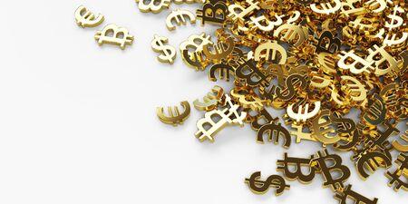 Many golden dollar, euro, bitcoin symbols on the white background. 3d rendering Standard-Bild