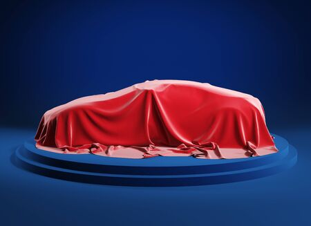 Car on the podium covered with a red satin cloth before presentation. 3d illustration