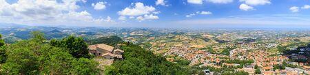 Beautiful aerial panorama of San Marino from Monte Titano Mountain. Standard-Bild