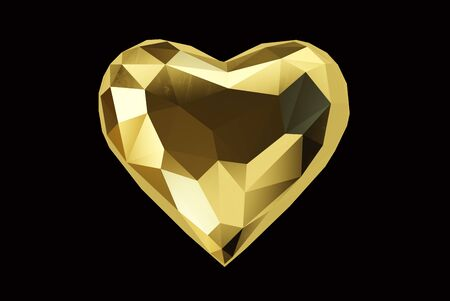 Golden heart isolated on a black background, clipping path included. 3d illustration Standard-Bild