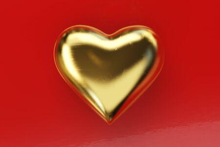Golden heart on red background. Valentine's Day theme. 3d rendering. Standard-Bild