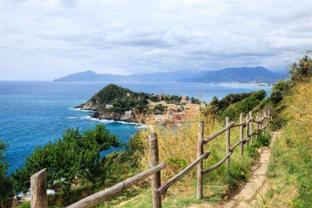 Beautiful aerial view on Sestri Levante silent bay or Baia del Silenzio. Liguria, Italy Standard-Bild