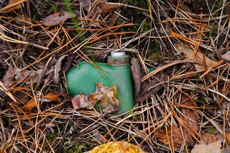 Anti-personnel mine lies in the grass