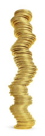 Dangerous finance concept. Stack of golden coins on white background. Clipping path included. 3D rendering Standard-Bild