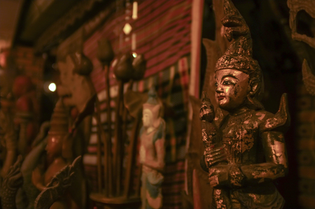 lanna: Chiang Mai , Thailand : Traditional northern restaurant had been decorated with the antique  Lanna Style sculptures
