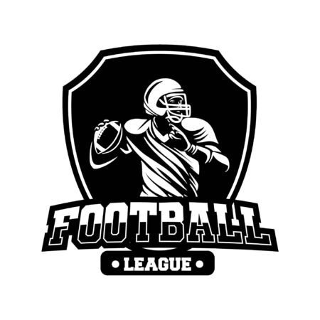 shield badge american football league black and white Banque d'images - 134872323