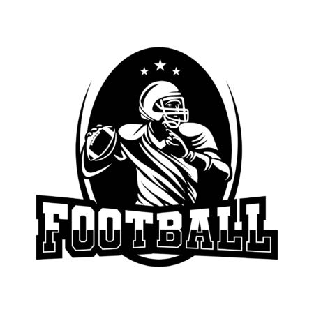 american football badge in black and white color