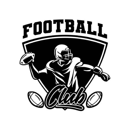 black and white sport badge american football player Banque d'images - 134872326