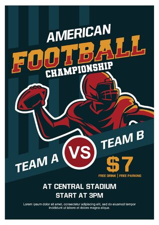 American football championship brochure poster flyer template Banque d'images - 134872651