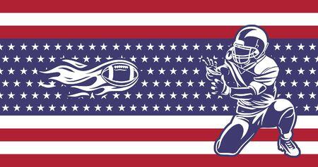 american football players catch fireballs banner