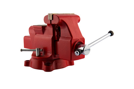 clamps: Metal vice on white background Stock Photo