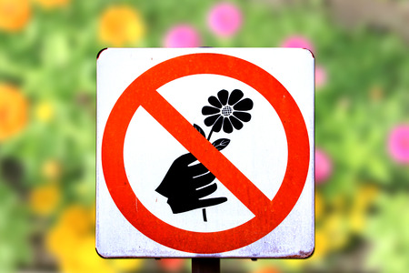cut flowers: Do not pick flower sign,red cycle color