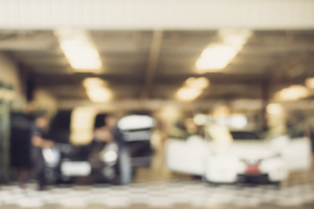 blurred image : car washing cleaning with water at service station Archivio Fotografico