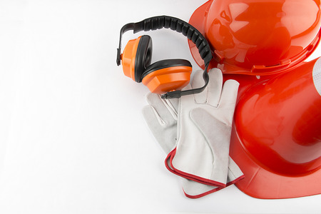 safety equipment: traffic cone and worker Construction